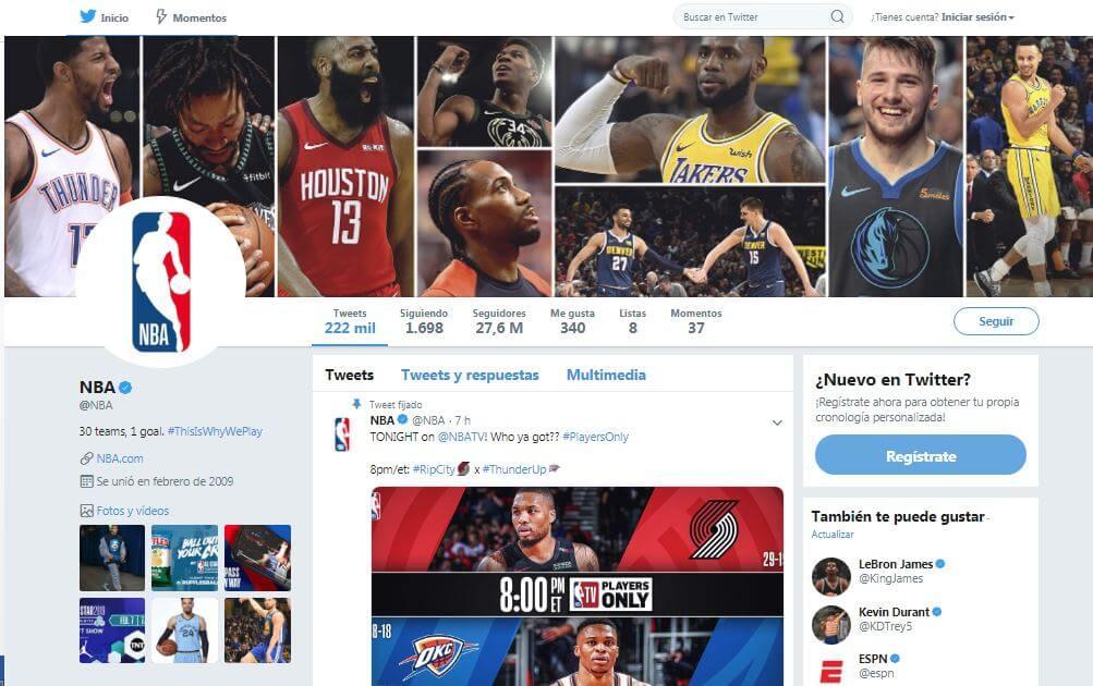 Podrás seguir por Twitter a tu jugador favorito de la NBA en cada partido